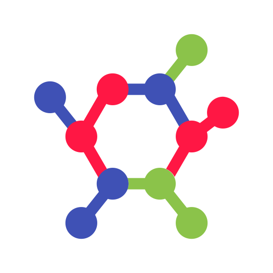 Péptido icon. The peptide logo starts with a Pentagon in the center. Out of each corner extends a line ending and starting with a circle. Each line begins the start of a new Pentagon, as shown by one extension.
