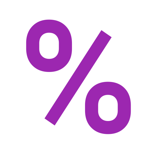 Percentage icon. This is a percentage sign. There is a circle on the left that is slightly higher than the circle on the right. In between is a forward slash dividing them. This is the same symbol you would see to distinguish 1% or 2% Milk