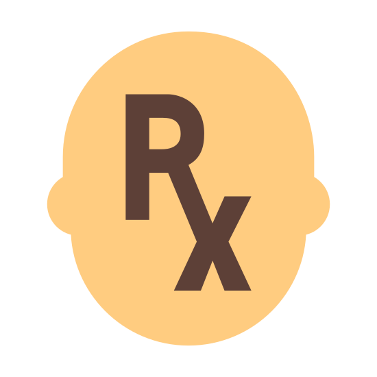 Pharmacist icon. There is a silhouette of a person's head. Instead of a face, inside the head is the RX symbol for pharmacists.
