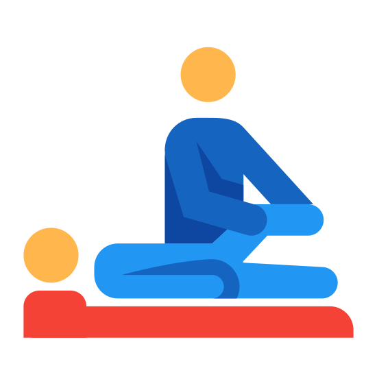Fizykoterapia icon. It's a log of a person receiving physical therapy from another person. One person is laying down on a table or bed while the other is holding their raised up leg to work on it.