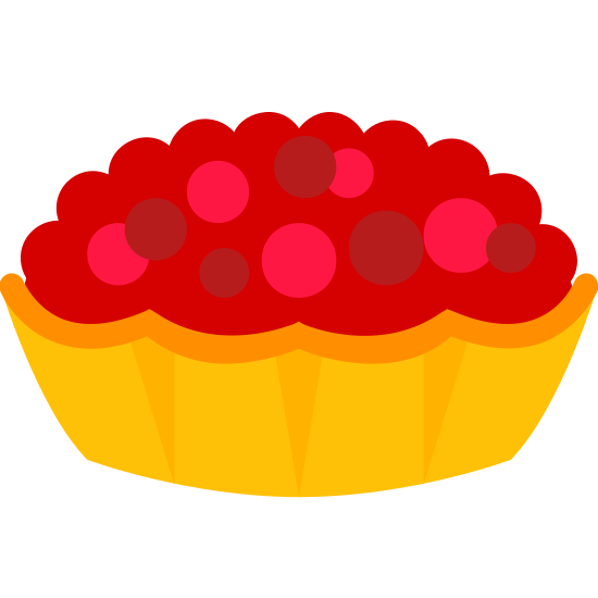 Tarte icon. The icon is a pie in the classic sense of American pie. It appears that a crust with three slits in the top is with a round pie pan. You cannot see what is inside the pie as the filling is obscured by the crust.