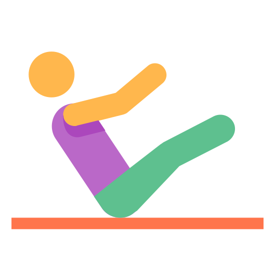 Pilates icon. The Pilates logo begins as a horizontal line. On top of the line is a figure of a sitting human, in a v position, attempting to touch his hands and feet together.