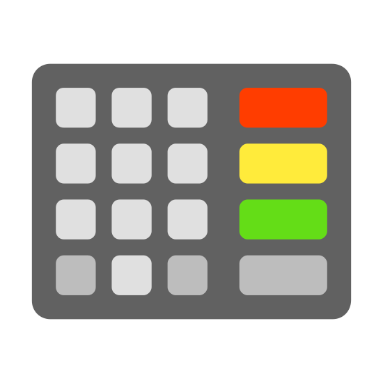Pin-Tastatur icon. The icon consists of two rectangular objects of equal height but different widths. The object on the left has a rectangular outer shape with four rows and three columns of squares arranged in a grid. The object on the right consists of four rectangles with rounded corners that are wider than they are long and are all stacked.