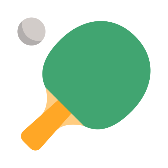 Ping Pong icon. This is a logo of a ping pong paddle and a ping pong ball. The ping pong ball is above and slightly to the left of the paddle to signify that it's in the air. The paddle has a clearly delineated handle and paddle section.