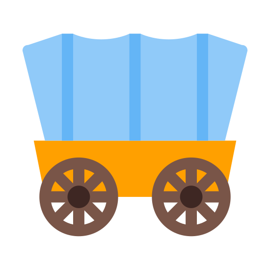 Wagon icon. This icon represents a wagon. It includes two wheels with a top that looks rounded. The wheels have spokes. It is from the side view with the top different from the bottom.