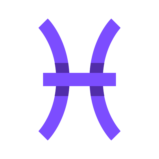 Ryby icon. There are two inwardly curving lines that are placed vertically in exact proportion to the other facing in opposite directions. There is a straight horizontal line that goes directly through the middle of both lines, joining them.