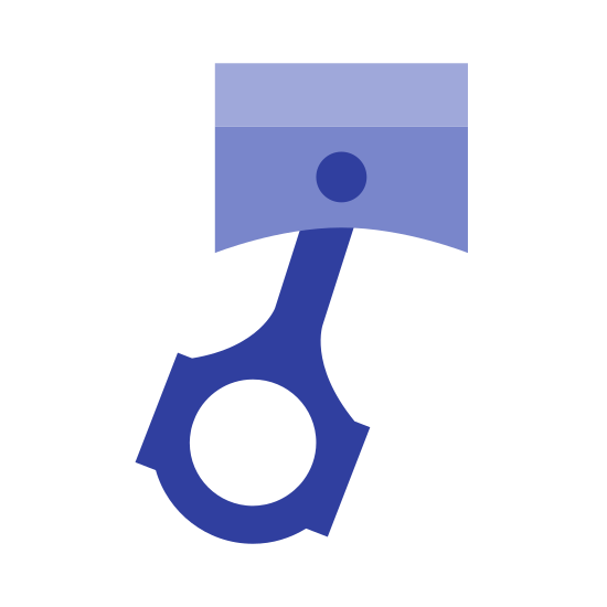 Piston icon. This logo represents a piston and is made up of a rectangle with a short half circle on top with a smaller circle in the middle of the rectangle. There is a swinging shape underneath and connected to the rectangle with a circle inside of it.