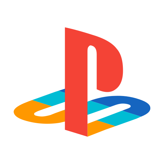 "PlayStation icon. This is the Play Station logo, which is the letters ""P"" and ""S"" connected to each other. It has a capital letter P standing up vertically. That letter P is connected at the bottom to the letter S which is laying flat, like it's on the ground lying down or stamped onto the ground."
