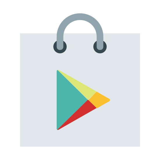 Playstore icon. The icon consists of a rectagle with a right-pointing arrow head centered in it. There are two punch holes and a semicircle connecting them at the top of the rectangle, like a binder.