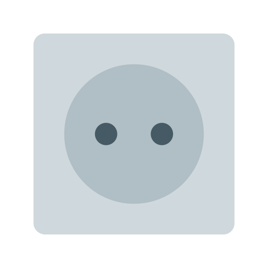 Plug 3 icon. This looks like a square. The corners of the square are rounded. In the middle of the square, there's two small circles. The circles are distributed evenly across the middle of the square.