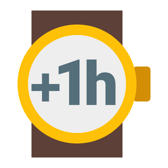 Plus 1 Hour icon. This icon consists of an outlined circle representing a wristwatch with a small rectangle placed on the right side representing the crown. Two parallel lines run vertically behind the circle, representing a wrist.