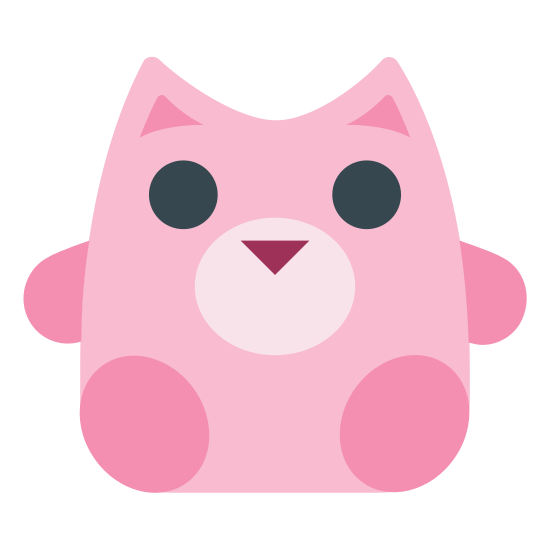 """Plush icon. There is a sideways oval for a head, with one circle and one """"x"""" for eyes. Two triangles rest on top for ears. Beneath the oval is a torso (square with two rounded rectangles extending from the upper sides); and two upright ovals in front of the torso to represent feet."""