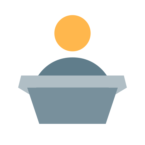 Podium com locutor icon. The icon shows a man standing at a podium. The podium has a tall rectangular base, and a flat table at the top. There is a speaker on top of the podium.