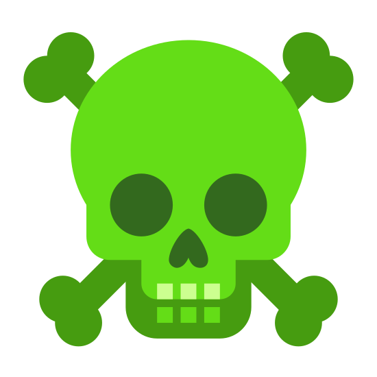 Veneno icon. It is an icon of a skull the two bones in an x. The skull has blank eyes with a upward arrow as a nose. There are three squares for teeth. The skull is overlapping with the bones behind it.