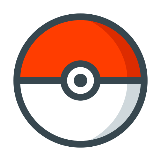 Pokeball icon. The images is shaped like a circle, divided in half by a horizontal line. Two circles with a smaller radius are positioned in the middle of the circle. The top half of the circle is covered with polka dots while the bottom half is completely clear.