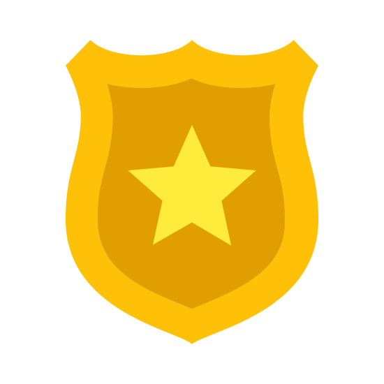 Police Badge icon. This icon represents a police badge. At the top is two curved lines meeting in the middle at a point that curve around down into a point at the bottom. In the middle is a star shape with five points and is fairly large in reference to the outside shape.