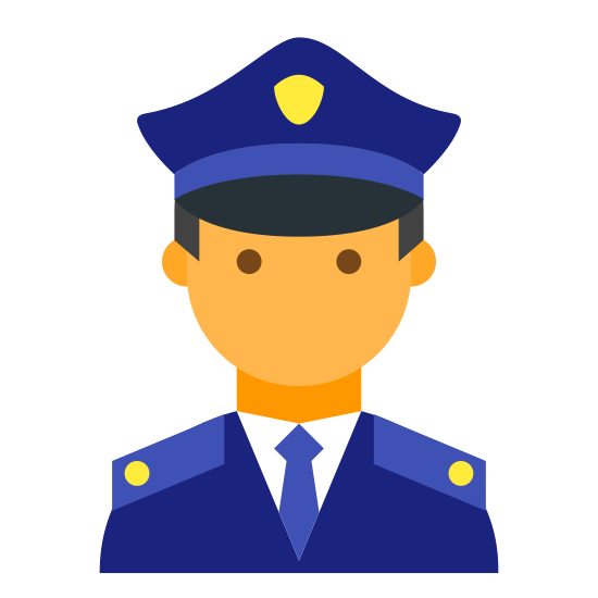 Полицейский icon. The icon is consists of an androgynous humanoid head, wearing dark sunglasses. The icon wears a hat reminiscent of a simplified police officer hat, with small badge and visor visible. The icon is representative of a male police officer.