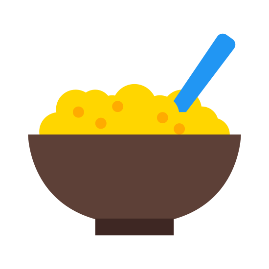 Porridge icon. This icon is has a bowl with porridge inside of it. The porridge is fluffy looking and has small specks of seasoning scattered in it. There is the handle of a utensil protruding from the porridge.