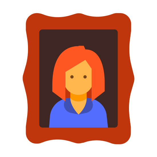 Portrait icon. The icon Portrait is a medium sized square. Inside the square is the outline of a person. Around the outside of the square is a larger square with the lines not being straight.