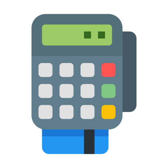 POS Terminal icon. The icon portrays a credit card machine reader. The machine itself is rectangular with rounded corners and nine buttons. Beneath the machine is a credit card being inserted into the bottom of the reader.