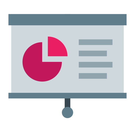 Presentation icon. It's a logo representing presentation. There is a projector screen with a pie chart and three horizontal lines depicting writing. There is a small wide rectangle on the top of the projector where it would be pulled from and a string with a circle at the end to represent the drawstring.