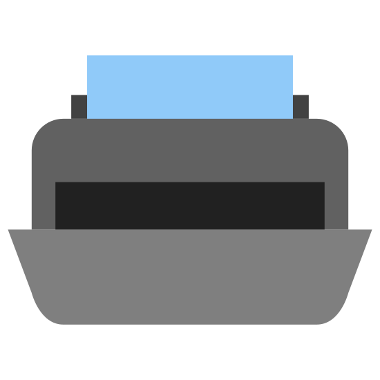 Printer icon. This is a drawing of what looks like a printer with a piece of paper coming out of the top. At the bottom there appears to be some sort of a tub or baby paper holder where the paper will go.