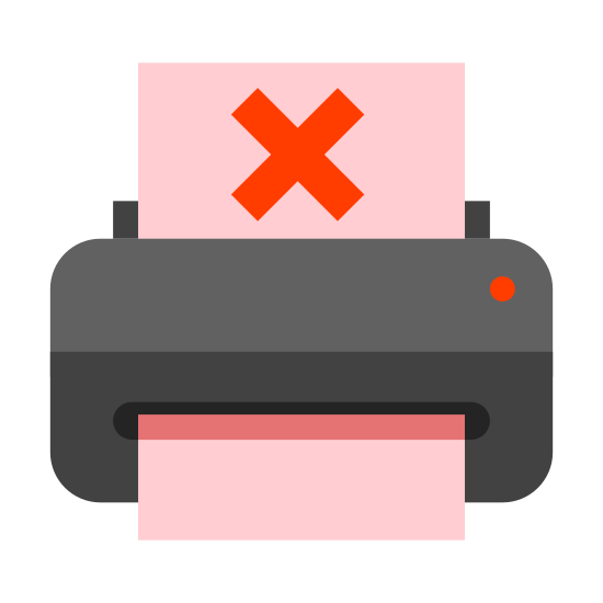 Brak papieru w drukarce icon. The icon is depicting a computer printer with a piece of paper emerging from it with an x drawn in the center of the paper. The main part of the printer is rectangular shaped with rounded corners and the top portion of the paper is cut off.
