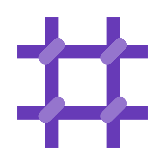 Prison icon. A prison symbol consists of two horizontal lines and two vertical lines that run into each other, similar to a tic-tact toe board. Where the two lines meet, there will be another little line to show that the bars are tightly sealed. A prison is where prisoners are locked away, and would usually have metal bars to keep them inside.