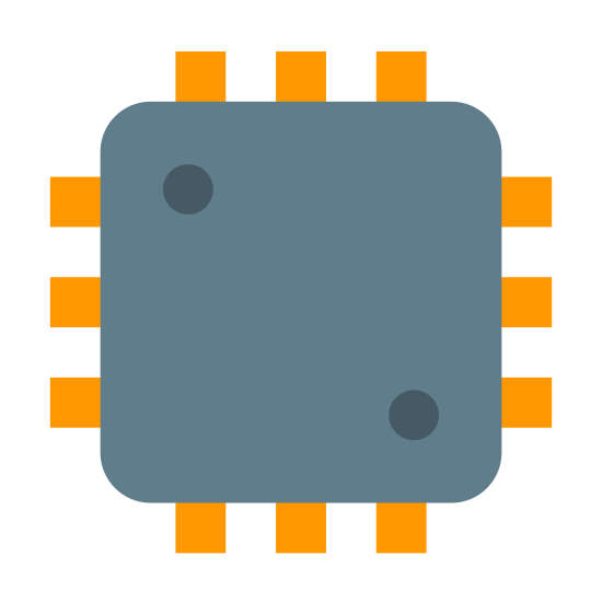 Processor icon. It is a large square with rounded corners. There are two dots on the square, one each in the top-left and bottom-right corners, almost like a 2 on a standard die. On the outside of each of the 4 edges of the square are 4 lines perpendicular to the edge, separated from the edge by a very small space.