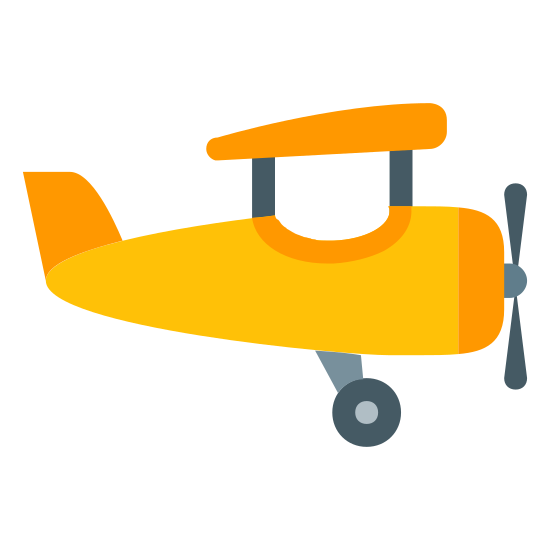 Aircraft icon. This is a small air craft with a front propeller and a single wing is visible. The tail juts upward and one wheel dangles down. This iOS 7 icon is categorized as transportation.