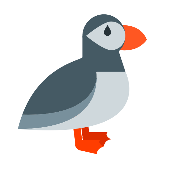 Frailecillo icon. This is a picture of a small bird that looks like a parrot. it's a side view of the bird. his eye is large and his beak is large as well. his tail sticks out in the back almost like a penguin's tail. he's got a big belly and two small feet.