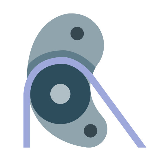 Krążek linowy icon. The icon is a simple depiction of a pulley. A main body with two mounting holes holds a low-friction wheel on an axis, across which a string is strung. The string then drops to the bottom of the image, truncated by the icon's boundaries.