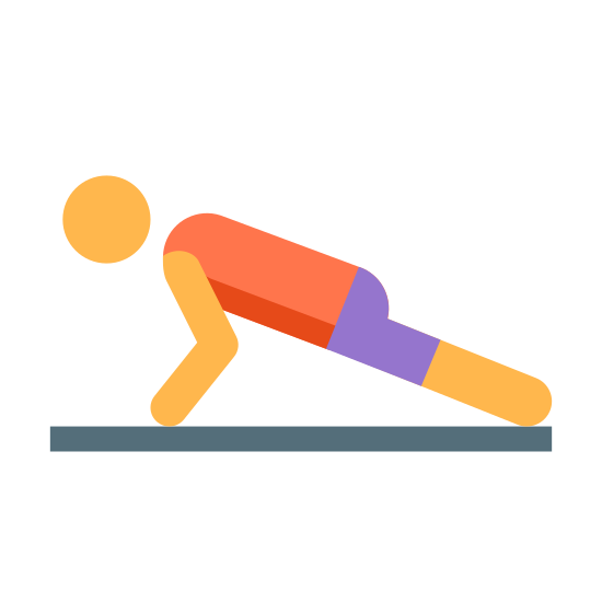 Pompki icon. It's a logo for a person doing a pushup as an exercise. The person is parallel to the floor, with their stomach facing the floor and legs straight out behind them. Their arms are propping them up so they aren't laying down.