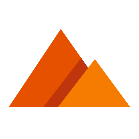 Пирамиды icon. It's a logo of an equilateral triangle. Slightly tucked behind it on the right side is another equilateral triangle of slightly smaller size.