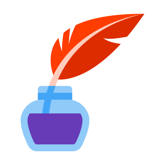 Quill With Ink icon. The icon is of a quill with ink. The quill is shaped like a feather with a straight vertical line up the middle and a horizontal line at the bottom. The ink is shaped like a square with rounded corners.