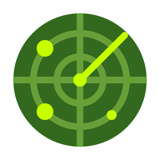 Radar icon. This icon features circles within circles with  ray like line from the center to the upper right hand corner. The purpose of the icon is to let the onlooker know this is a radar for detecting.