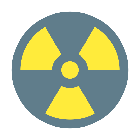 Radioactive icon. The logo is a typical radiation or nuclear symbol. It is made of a main circle, inside of which there are four more shapes. The first shape is a small circle in the center and it is surrounded by three rounded triangles facing inwards towards the small circle.