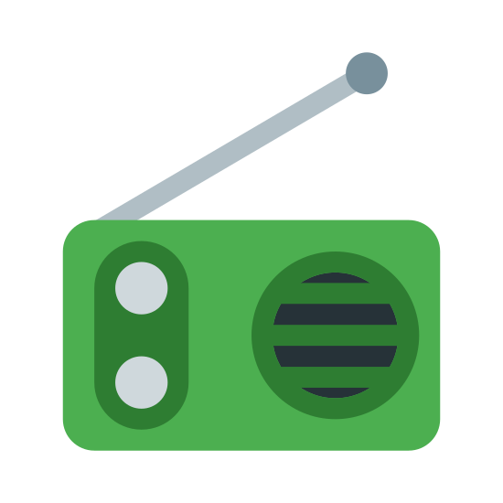 Radio icon. It's a logo for a radio. The radio is made up of a rectangle with an antenna on top pointing to the right. There are two dots on the rectangle where dials might be and a circle with horizontal lines on the right where the speaker is.