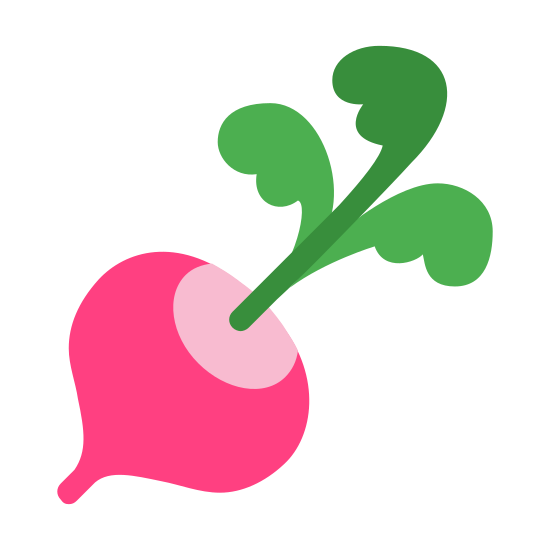 Radish icon. It's a logo of a radish. The radish looks like it was just plucked off the ground. It has a healthy body and great looking stem.