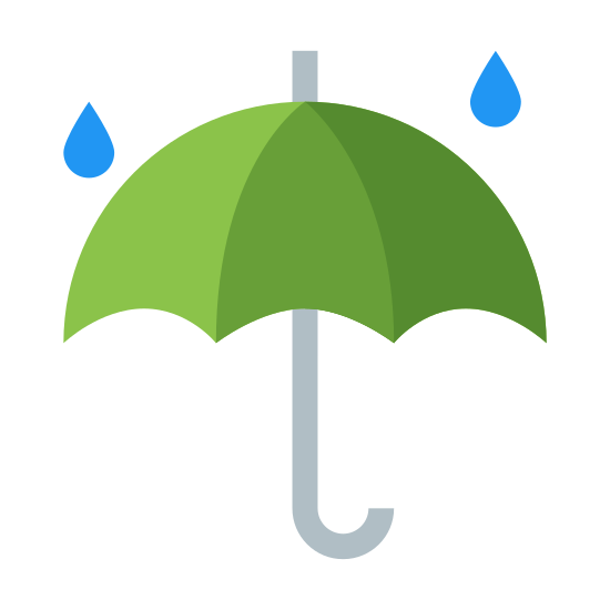 Rainy Weather icon. It is a rounded umbrella with a J-shaped handle and a point atop of it. The umbrella itself is essentially the upper half of a circle with a bat-shaped line along the bottom edge. There are two raindrops falling towards the umbrella from above.