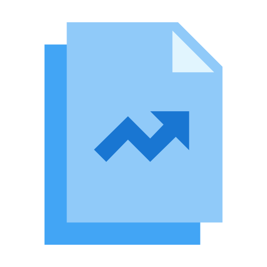 """Ratings icon. It's a logo representing an upwards rating trend. There are two """"pages"""", stacked one above the other, with the bottom sheet stacked slightly to the right and under the top sheet, with a an arrow pointing up and to the right, with a small downward trend in the middle of the top sheet."""