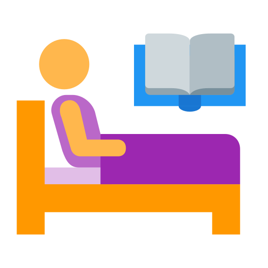 Relax icon. This logo is a picture of a person in bed. The person back is against the head rest who has a blanket on him and sitting up reading an open book which he is probably holding.