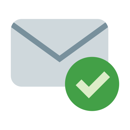 Received icon. There is an image of the back of a mailing envelope. Over the bottom right hand corner of the image there is a circled check mark that seems to be indicating that an action has been completed involving the envelope.