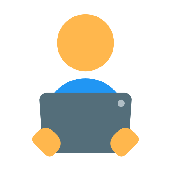 Read Online icon. The icon is a picture for the logo Reading Ebook. The icon is what appears to be a tablet in a persons hands. The tablet has a camera on it at the top right of it. The person has no neck, just a floating head.
