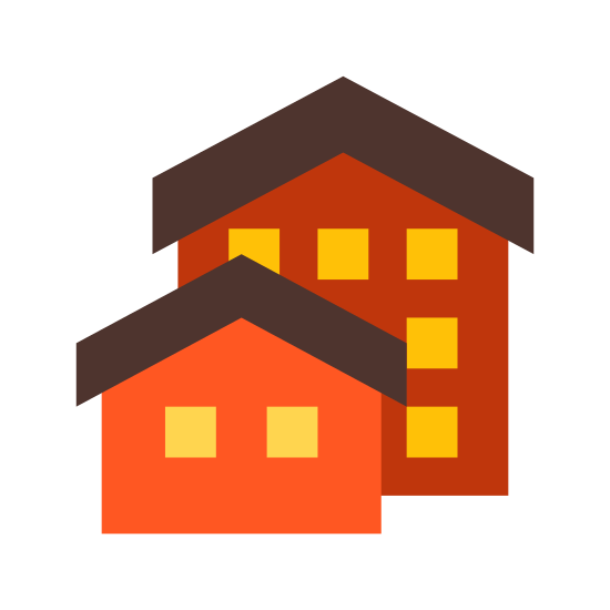 Nieruchomość icon. This icon represents real estate and has two houses on it. One is smaller and to the left but covering the one behind it. The one in back is about twice the size.