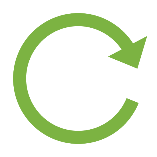 Reset icon. The logo is an arrow moving around in a perfect circle, pointing at it's tail end to indicate repetition. The circle does not close completely.