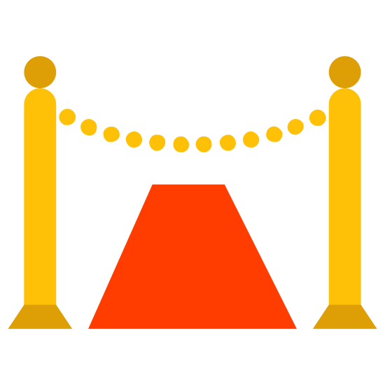Красная ковровая дорожка icon. There is a semi-circle base, with a long, thin rectangle extending upward from it, with a circle resting on top. There is a second identical one about an inch to the right, and a slightly concave line connecting them right below the circles. Beneath the concave line is a trapezoid.