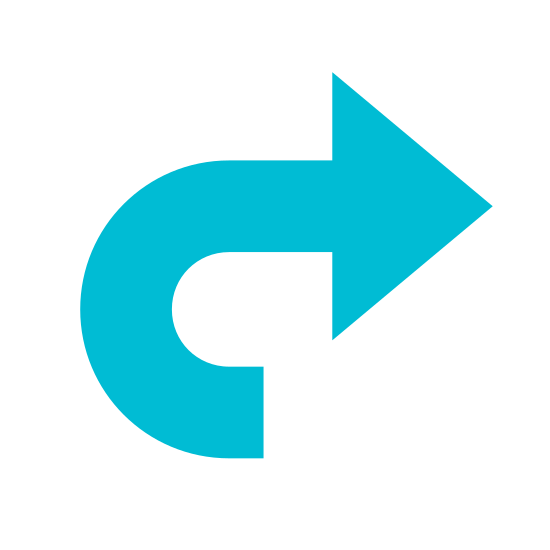 Redo icon. This is a picture of a right pointing arrow. The bottom of the arrow isn't congruent with the rest of it; it's facing downward and coming from the bottom right hand side.