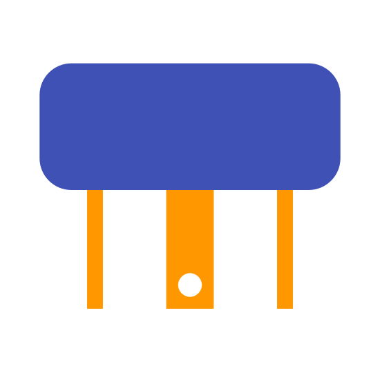 Relay icon. It looks like a square or rectangular plug with the prongs facing down.  There are three prongs visible with a side, rectangular profile of the center one and a thin view of the outer two.