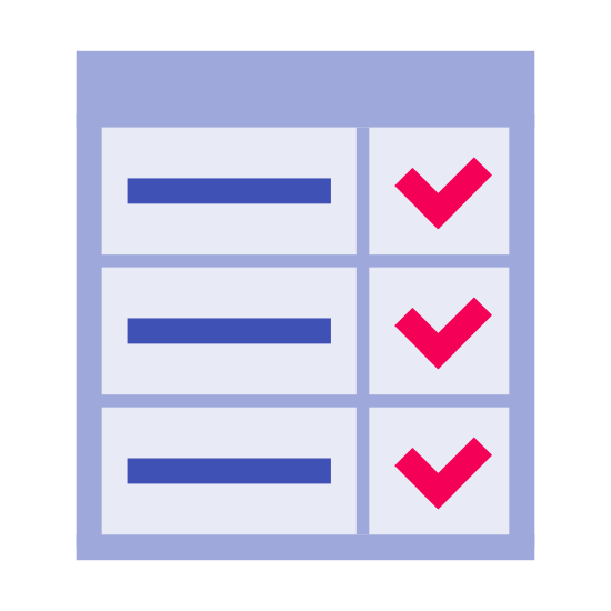 Karta raportu icon. There is a small piece of paper with three horizontal lines on it and next to each line is a single check mark. The paper seems to resemble a checklist of sorts.
